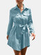 Solid Color Long Sleeve Turn-down Collar Asymmetrical Mini Dress With Belt - Blue