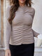 Solid Color Pleated Long Sleeve Casual Base Shirt for Women - Apricot