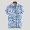 Chemise décontractée ample à manches courtes et à col châle imprimé floral pour hommes