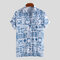 Mens Floral Impresso Peito Bolso Turn Down Collar Manga curta Loose Casual Shirts