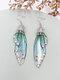 Vintage S925 Sterling Silver Butterfly Long Cicada Wings Gradient Earrings - 8