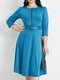 Zip Front Solid Color O-neck 3/4 Length Sleeve Casual Dress With Belt - Blue