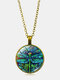 Vintage Dragonfly Women Necklace Spring Garden Glass Pendant Necklace - Gold