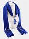 Vintage Women Scarf Necklace Solid Color Leaf Pendant Shawl Necklace - #03