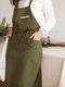 مريلة مطبخ من القطن والكتان للمسح اليدوي على الطراز الاسكندنافي اللون مريلة خبز بالزهور - أخضر