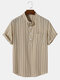 Mens 100% Cotton Striped Short Sleeve Henley Shirt With Pocket - Apricot