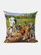 Cats And Dogs Pattern Linen Cushion Cover Home Sofa Art Decor Throw Pillowcase - #04