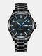 Alloy Steel Band Luminous Business Waterproof Quartz Watch Mens Watch - Black+Black+Blue