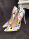 Women Colorful Graffiti Pattern Pointed Toe Slim High Heels Halloween Party Shoes - White