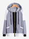 Patchwork Long Sleeve Pockets Zipper Hooded Sweatshirt