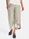 Flower Embroidery Casual Pants For Women - Apricot