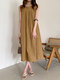 Solid O-neck Pleated Sleeveless Pocket Women Casual Dress - Brown