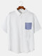 Plus Size Mens Seersucker Pinstripe Patched Pocket Casual Short Sleeve Shirts - White