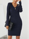 Solid Color V-neck Long Sleeve Casual Dress For Women - Navy