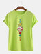 Mens Colorful Planet Printed Cotton Casual Round Neck T-shirts - Green