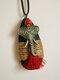 Wooden Alloy Vintage Ethnic Hemp Rope Tassel Elephant Long Sweater Necklace - Red