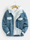 Mens Corduroy Sherpa Lined Button Up Lapel Cotton Warm Jackets - Blue