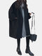 Solid Color Long Sleeve Lapel Casual Coat For Women - Black