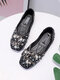 Women Pearl Rhinestone Loafers Shoes Comfy Soft Elegant Ballet Shoes Round Flats - Black