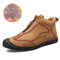 Men Hand Stiching Zipper Microfiber Leather Comfortable Outdoor Casual Shoes - Khaki Cotton Lining