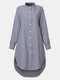 Plaid Button Stand Collar Long Sleeve Casual Blouse For Women - Blue