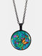 Vintage Glass Printed Green Multicolor Butterfly Pendant Necklace Women Necklace - Black