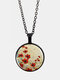 Vintage Glass Printed White Red Floral Pendant Necklace Women Necklace - Black