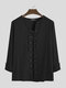 Mens 100% Cotton Pure Color Loose Lace Up Long Sleeve T-Shirts - Black
