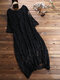 Vintage Lace Hollow 3/4 Sleeve Layers Plus Size Maxi Dress