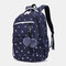 Women Fluffy Ball Print Anti theft Multifunction Laptop Bag Backpack - Coffee
