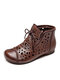 Women Retro Stitching Hollow Lace-up Flat Shoes Casual Soft Comfy Boots - Dark Brown