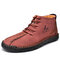 Menico Men Microfiber Leather Hand Stitching Non Slip Casual Ankle Boots - Red