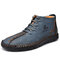 Menico Men Microfiber Leather Hand Stitching Non Slip Casual Ankle Boots - Blue