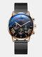 11 Colors Men Business Watch Leather Alloy Mesh Band Calendar Luminous Quartz Watch - #03
