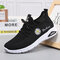 Women Daisy Decor Comfy Breathable Wearbale Casual Sports Sneakers - Black
