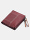 Women Genuine Leather Multifunction Multi-card Slots Coin Purse Money Clip Wallet - Wine Red