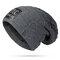 Mens Winter Plus Velvet Warm Knitted Hat Casual NC Letter Solid Skullies Beanie Hat - Dark Gray