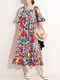 Multi-color Painted Print Square Collar Half Sleeve Loose Dress - Red