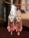Винтажная алмазная вышивка кисточкой из рисовых бусин Серьги - Розовый