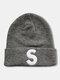 ユニセックスニットウールSレターパターン刺繡ビーニーハットニット帽 - グレー