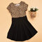 Leopard Patchwork Girls Short Sleeve Pleated Dress For 1Y-9Y