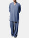 Men V Neck Length Tops T-Shirts Co-ords Loungewear Sets Cotton Long Sleeve Cozy Two Pieces - Light Blue