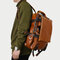Men Solid Casual Multifunction Laptop Flap Backpack - Brown