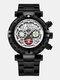 Multifunctional Men Business Watch Luminous Chronograph Calendar Quartz Watch - Black Case White Dial Black Band