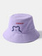 Unisex Cotton Bear Letter Pattern Embroidery Solid Color Cute Bucket Hat - Purple