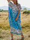 Ethnic Print Contrast Color O-neck Short Sleeve Casual Dress for Women - Blue