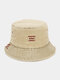 Unisex Washed Polyester Cotton Letter Line Embroidery All-match Sunscreen Bucket Hat - Khaki