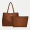 Women 2 PCS Multi-pocket Large Capacity Removable Key Multifunctional Handbag Tote - Brown