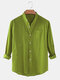 Mens Cotton & Linen Solid Color Thin Casual Long Sleeve Shirts With Pocket - Army Green