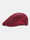 Unisex Polyester Cotton Mesh Patchwork Stripe Pattern Sunshade Breathable Beret Flat Cap - Red